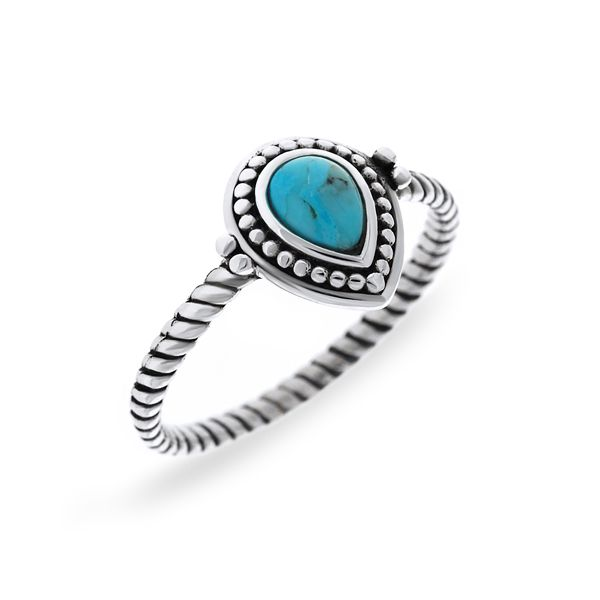 Silver Ring With Pear Shaped Turquoise Georgies Fine Jewellery Narooma, New South Wales