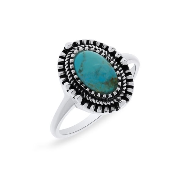 Silver Triple Bezel Oval Turquoise Ring Georgies Fine Jewellery Narooma, New South Wales
