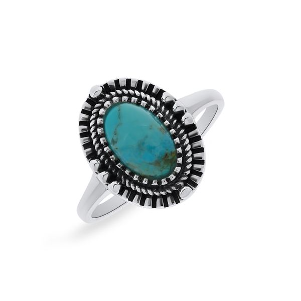 Silver Triple Bezel Oval Turquoise Ring Image 2 Georgies Fine Jewellery Narooma, New South Wales