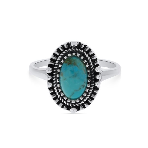 Silver Triple Bezel Oval Turquoise Ring Image 3 Georgies Fine Jewellery Narooma, New South Wales