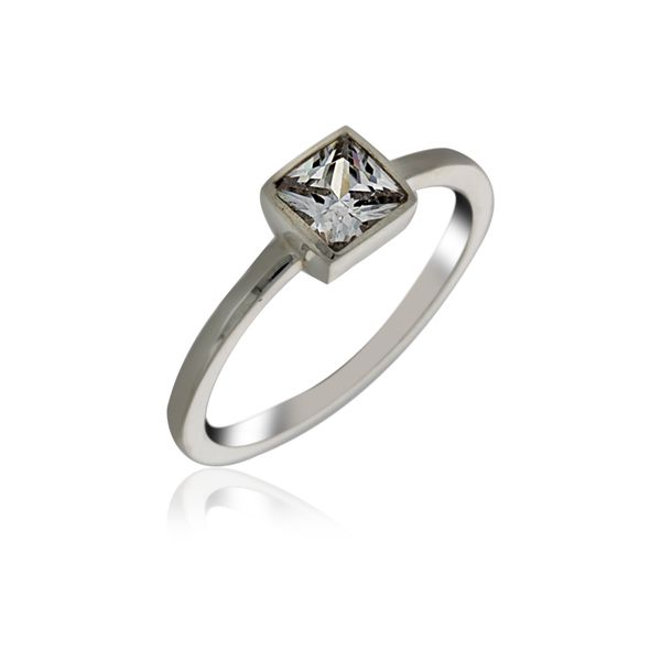 Silver Solitaire Square Ring With CZ Georgies Fine Jewellery Narooma, New South Wales