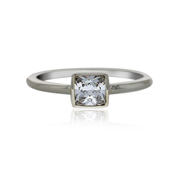 Silver Solitaire Square Ring With CZ Image 2 Georgies Fine Jewellery Narooma, New South Wales