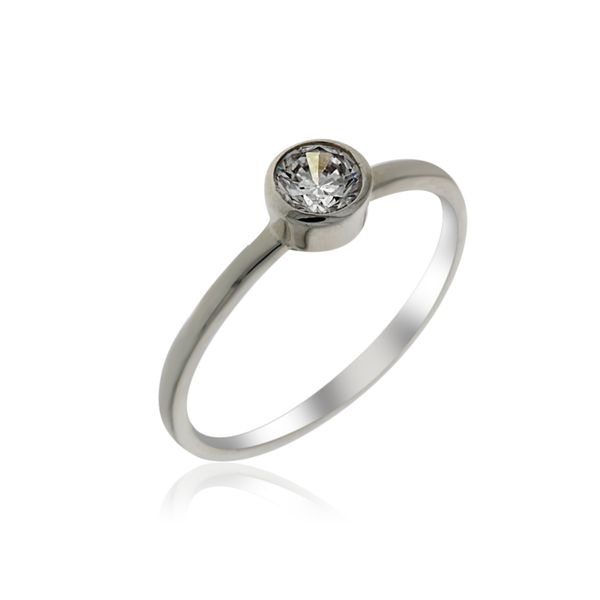 Silver Solitaire Ring with CZ Georgies Fine Jewellery Narooma, New South Wales