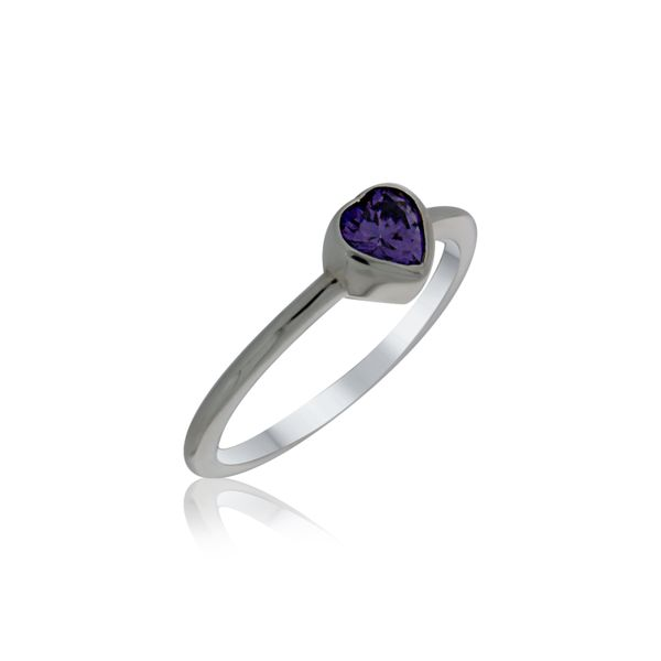 Silver Heart Purple CZ Ring Georgies Fine Jewellery Narooma, New South Wales