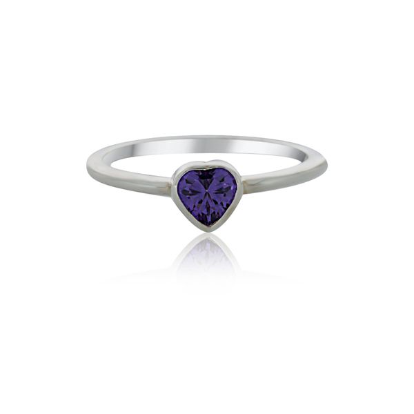 Silver Heart Purple CZ Ring Image 2 Georgies Fine Jewellery Narooma, New South Wales