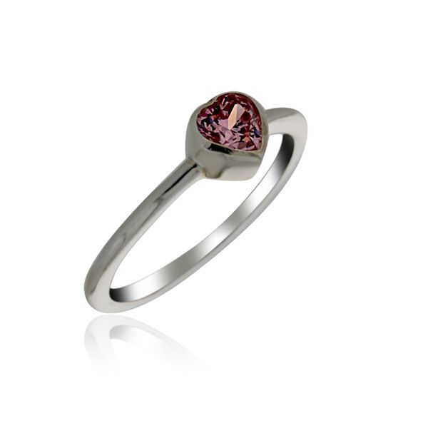 Silver Heart Ring With Pink CZ Georgies Fine Jewellery Narooma, New South Wales