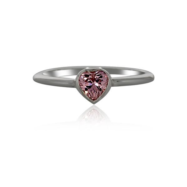 Silver Heart Ring With Pink CZ Image 2 Georgies Fine Jewellery Narooma, New South Wales