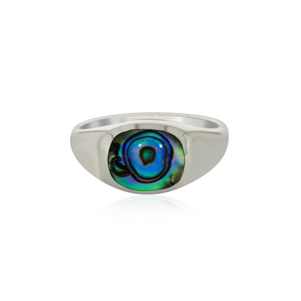 Silver Oval Paua Signet Ring Image 2 Georgies Fine Jewellery Narooma, New South Wales