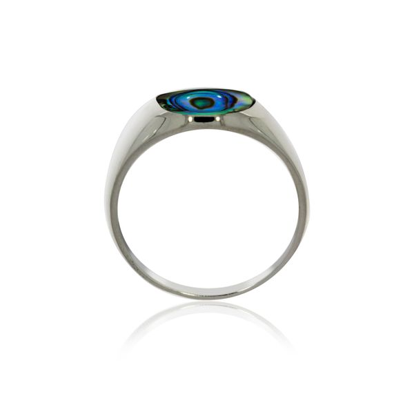 Silver Oval Paua Signet Ring Image 3 Georgies Fine Jewellery Narooma, New South Wales