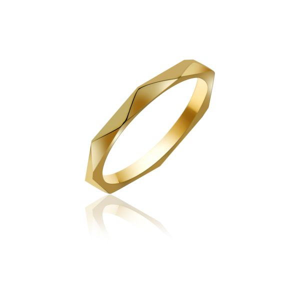 Yellow Gold Plated Faceted Stacker Ring Georgies Fine Jewellery Narooma, New South Wales