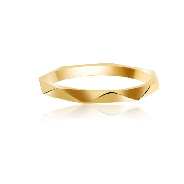 Yellow Gold Plated Faceted Stacker Ring Image 2 Georgies Fine Jewellery Narooma, New South Wales