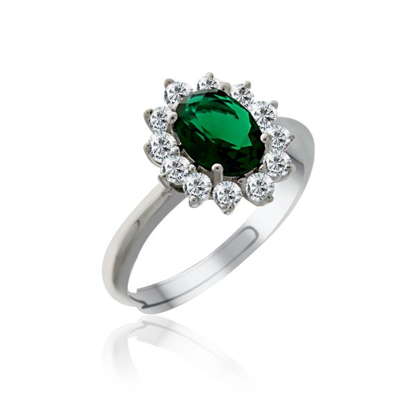 Silver Oval Green And White Cubic Zirconia Cluster Ring Georgies Fine Jewellery Narooma, New South Wales