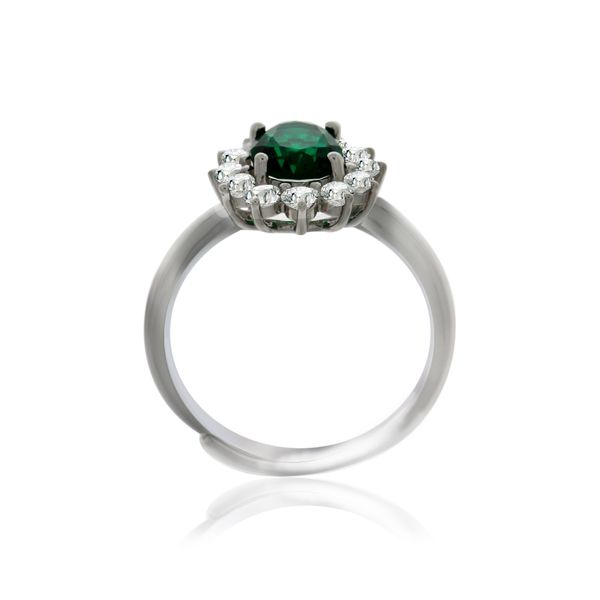 Silver Oval Green And White Cubic Zirconia Cluster Ring Image 2 Georgies Fine Jewellery Narooma, New South Wales