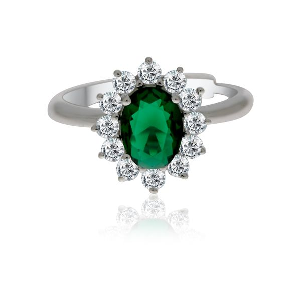 Silver Oval Green And White Cubic Zirconia Cluster Ring Image 3 Georgies Fine Jewellery Narooma, New South Wales