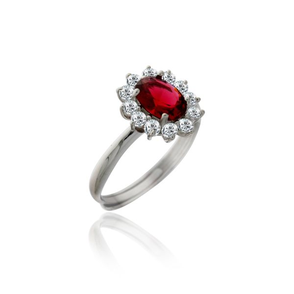 Silver Oval Red And White Cubic Zirconia Cluster Ring Georgies Fine Jewellery Narooma, New South Wales