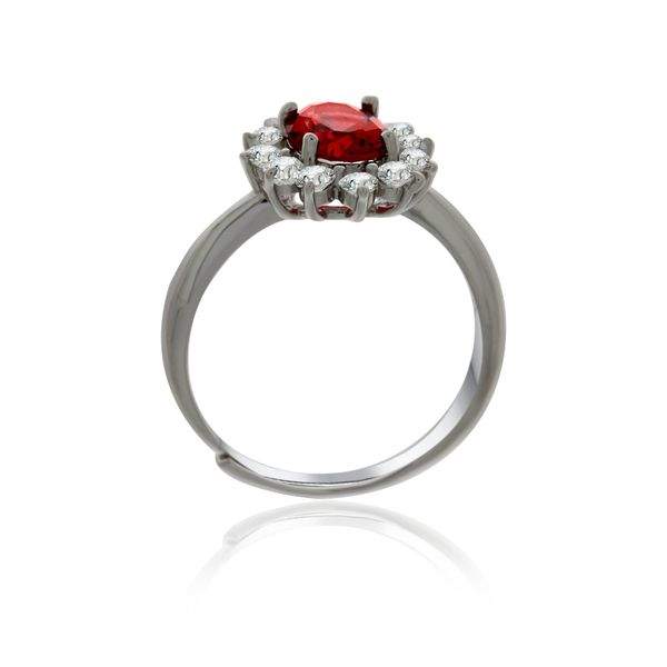 Silver Oval Red And White Cubic Zirconia Cluster Ring Image 2 Georgies Fine Jewellery Narooma, New South Wales