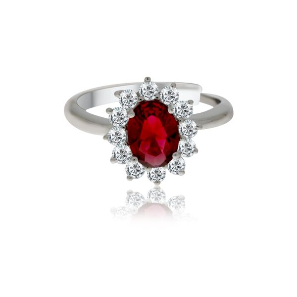 Silver Oval Red And White Cubic Zirconia Cluster Ring Image 3 Georgies Fine Jewellery Narooma, New South Wales