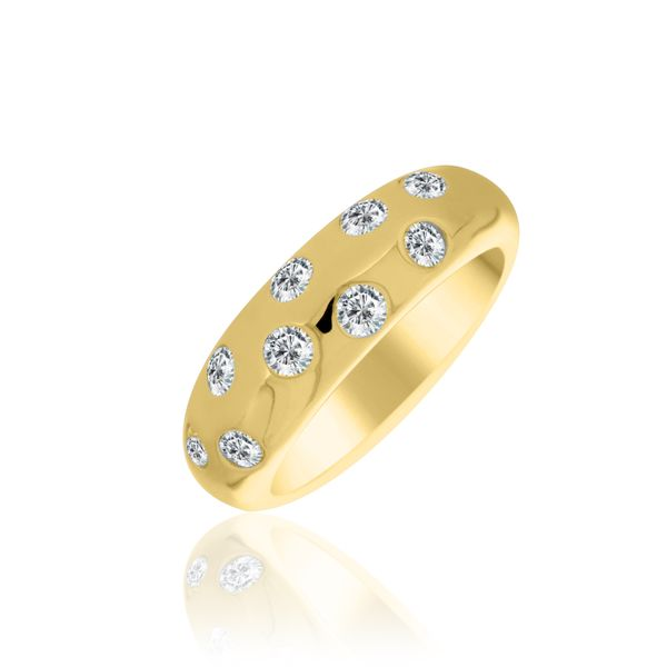 Yellow Gold Plated Dome Ring With Round Cz's Georgies Fine Jewellery Narooma, New South Wales