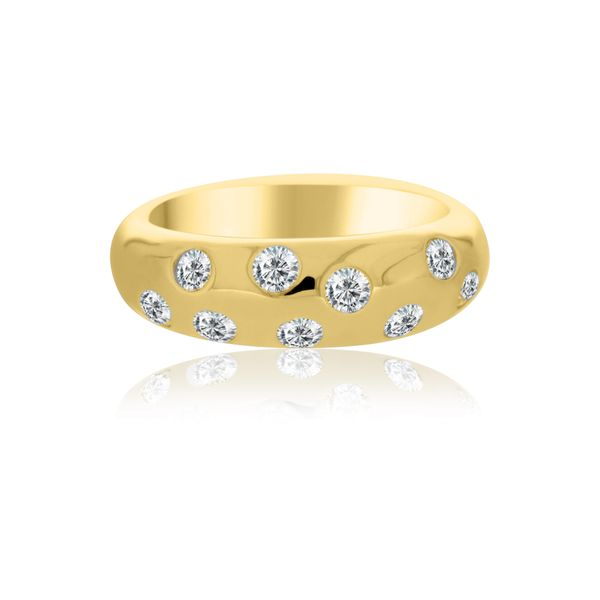 Yellow Gold Plated Dome Ring With Round Cz's Image 3 Georgies Fine Jewellery Narooma, New South Wales