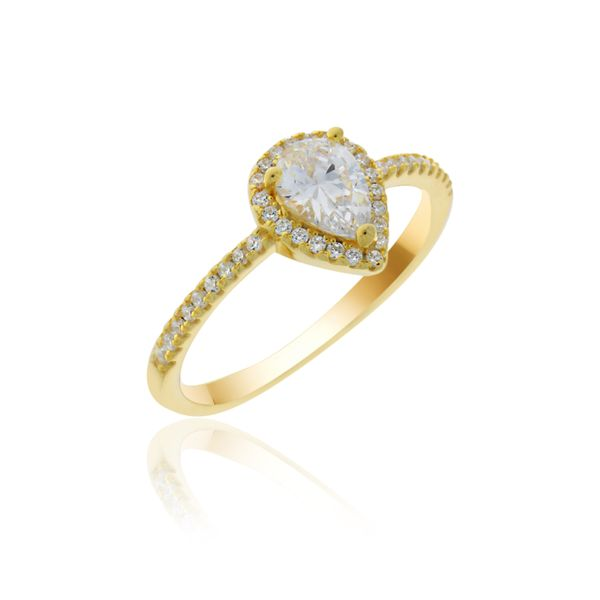 Yellow Gold Plated Cz Set Pear Shaped Halo Ring Georgies Fine Jewellery Narooma, New South Wales