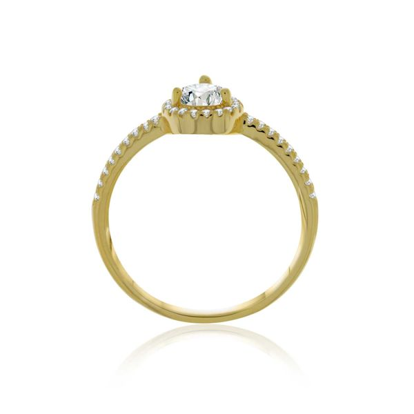 Yellow Gold Plated Cz Set Pear Shaped Halo Ring Image 2 Georgies Fine Jewellery Narooma, New South Wales