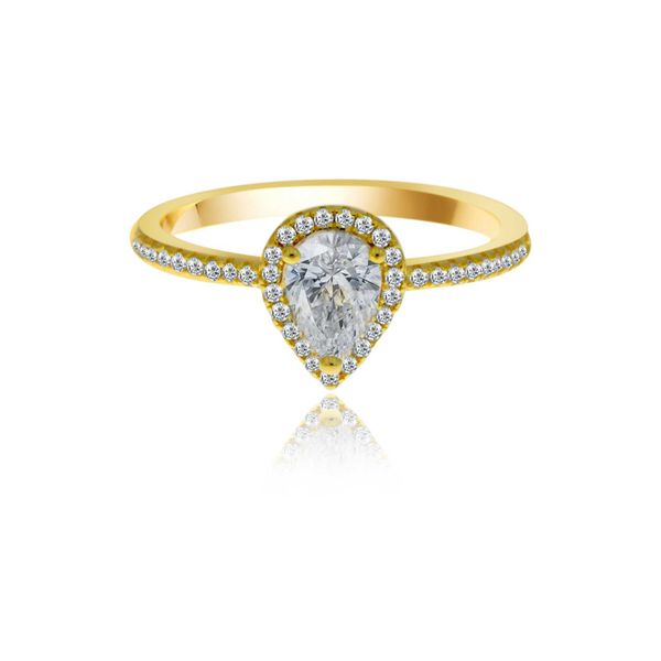 Yellow Gold Plated Cz Set Pear Shaped Halo Ring Image 3 Georgies Fine Jewellery Narooma, New South Wales