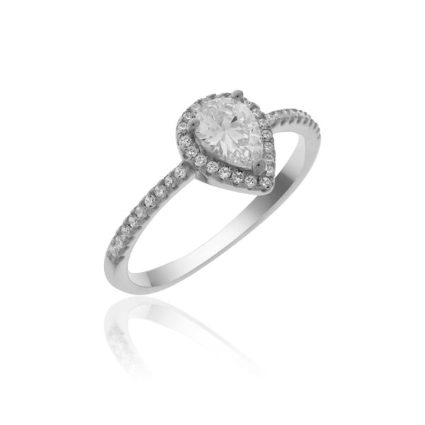 Silver Cz Set Pear Shaped Halo Ring Georgies Fine Jewellery Narooma, New South Wales