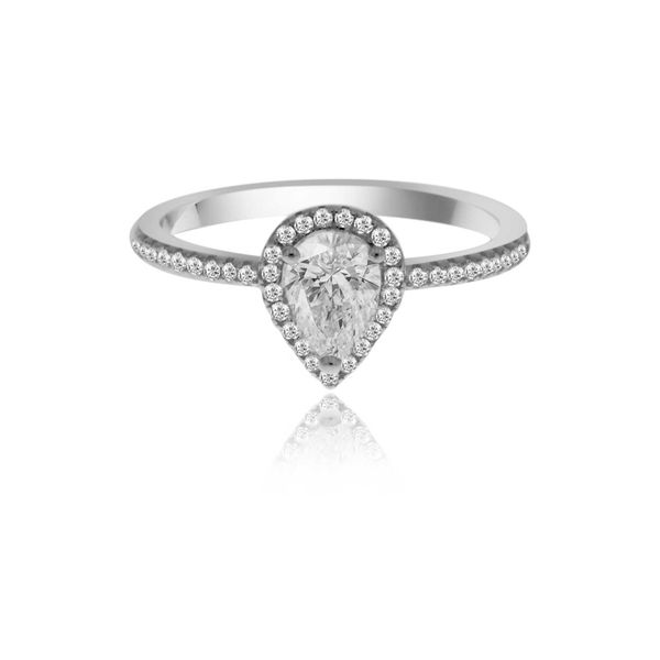 Silver Cz Set Pear Shaped Halo Ring Image 2 Georgies Fine Jewellery Narooma, New South Wales