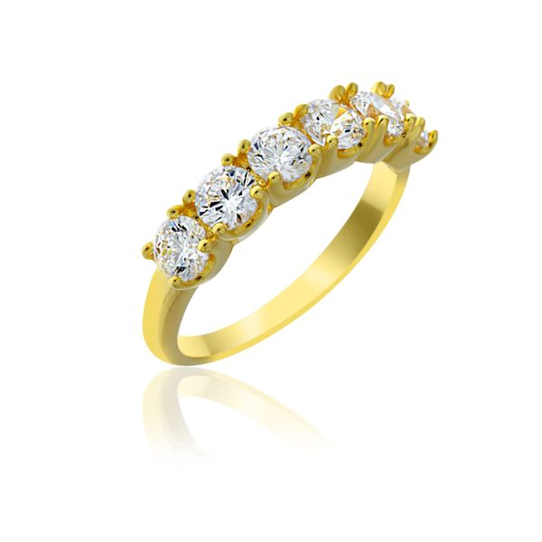 Yellow Gold Plated 6 Stone Cz Set Ring Georgies Fine Jewellery Narooma, New South Wales