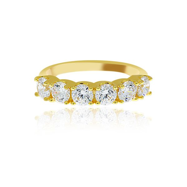 Yellow Gold Plated 6 Stone Cz Set Ring Image 3 Georgies Fine Jewellery Narooma, New South Wales
