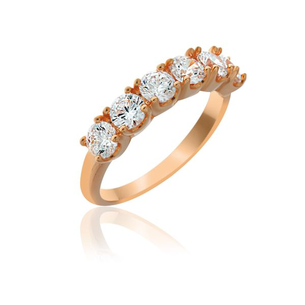 Rose Gold Plated 6 Stone Cz Set Ring Georgies Fine Jewellery Narooma, New South Wales