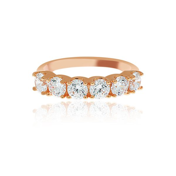Rose Gold Plated 6 Stone Cz Set Ring Image 3 Georgies Fine Jewellery Narooma, New South Wales