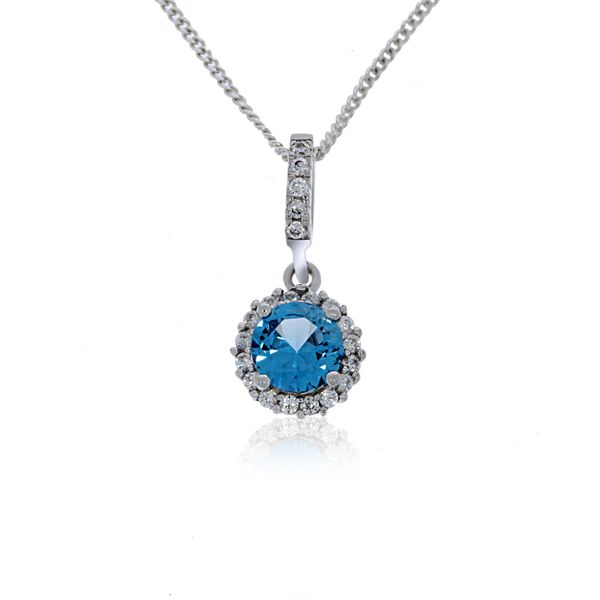 Olivia Sterling Silver Rhodium Plated Round Light Blue Cz Pendant With White Cz Halo Georgies Fine Jewellery Narooma, New South Wales