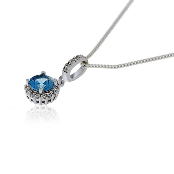 Olivia Sterling Silver Rhodium Plated Round Light Blue Cz Pendant With White Cz Halo Image 2 Georgies Fine Jewellery Narooma, New South Wales