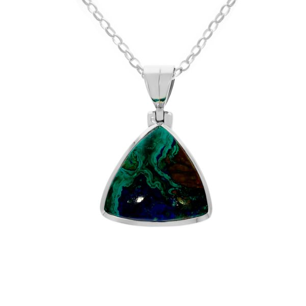Swirly colours of blue, green and brown making a beautiful Azurite Malachite pendant Georgies Fine Jewellery Narooma, New South Wales