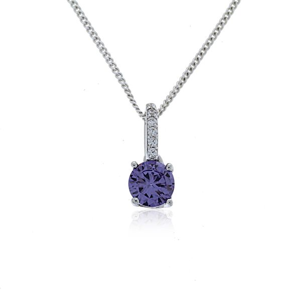 Olivia Sterling Silver Rhodium Plated Purple Cz Pendant With White Cz Bail Loop Georgies Fine Jewellery Narooma, New South Wales