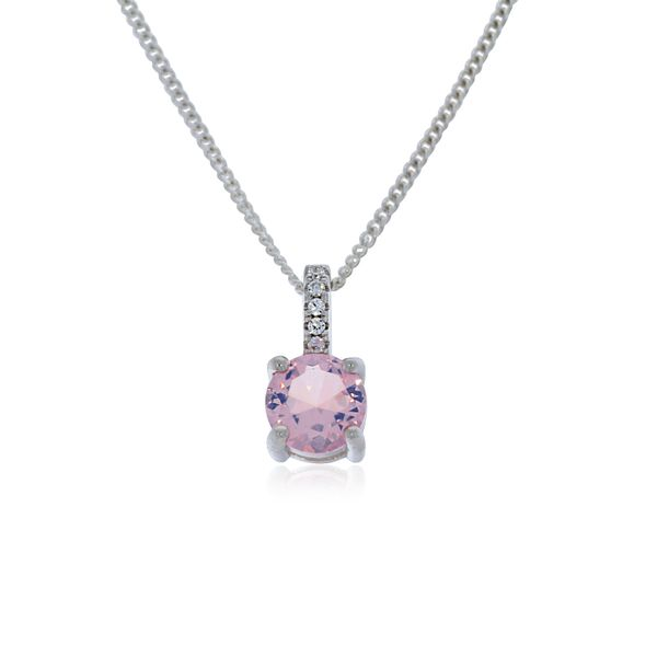 Olivia Sterling Silver Rhodium Plated AB Pink Cz Pendant With White Cz Fixed Bail Loop Georgies Fine Jewellery Narooma, New South Wales