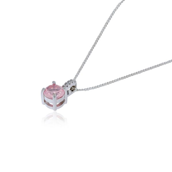 Olivia Sterling Silver Rhodium Plated AB Pink Cz Pendant With White Cz Fixed Bail Loop Image 2 Georgies Fine Jewellery Narooma, New South Wales