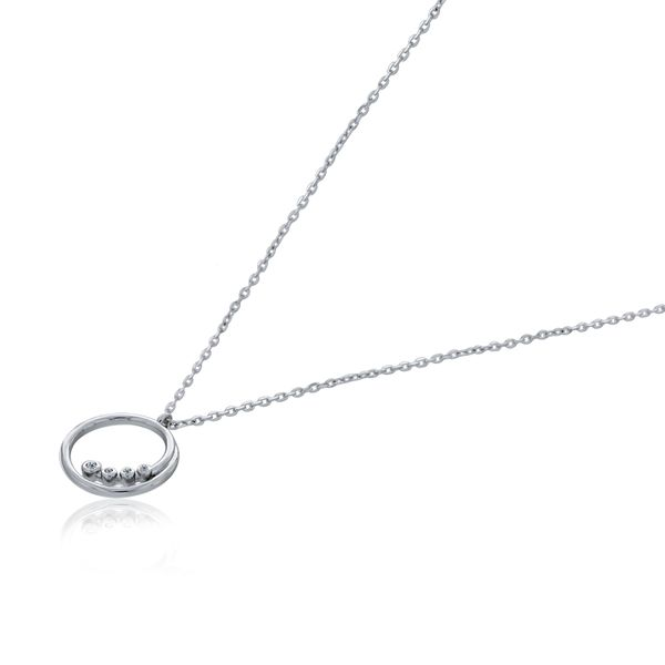 Silver Swirl Open Circle CZ Pendant Georgies Fine Jewellery Narooma, New South Wales