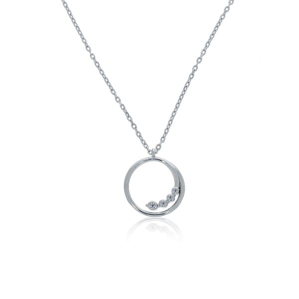 Silver Swirl Open Circle CZ Pendant Image 2 Georgies Fine Jewellery Narooma, New South Wales