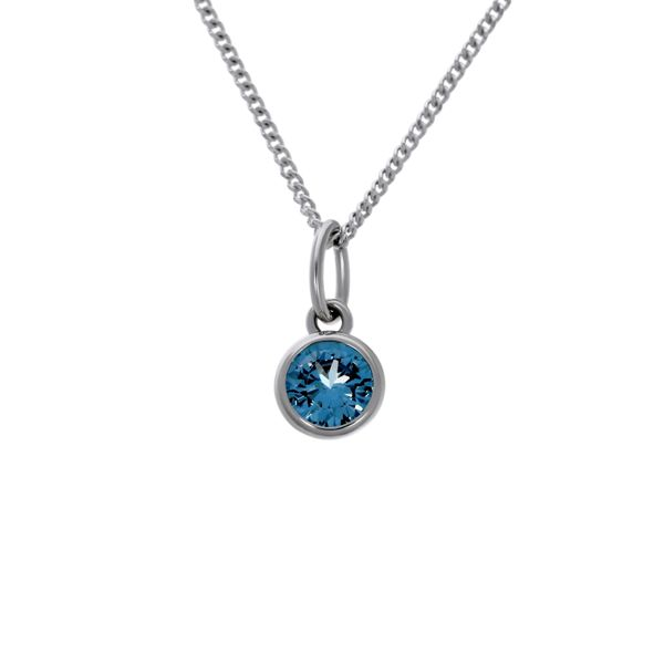 Olivia Sterling Silver Rhodium Plated Light Blue Cz Bezel Set Pendant Image 2 Georgies Fine Jewellery Narooma, New South Wales