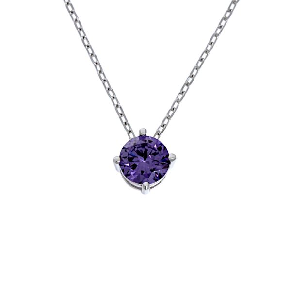 Olivia Sterling Silver Rhodium Plated Round Purple Cz Claw Set Pendant With Sterling Silver Chain Georgies Fine Jewellery Narooma, New South Wales