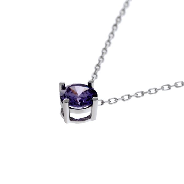 Olivia Sterling Silver Rhodium Plated Round Purple Cz Claw Set Pendant With Sterling Silver Chain Image 2 Georgies Fine Jewellery Narooma, New South Wales