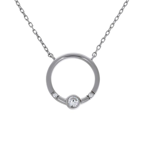 Olivia Sterling Silver Rhodium Plated Open Circle Pendant With Round Cz Bezel Set, And 2 X Round Czs Bead Set, With Chain Georgies Fine Jewellery Narooma, New South Wales