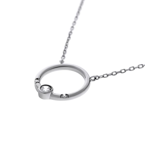 Olivia Sterling Silver Rhodium Plated Open Circle Pendant With Round Cz Bezel Set, And 2 X Round Czs Bead Set, With Chain Image 2 Georgies Fine Jewellery Narooma, New South Wales