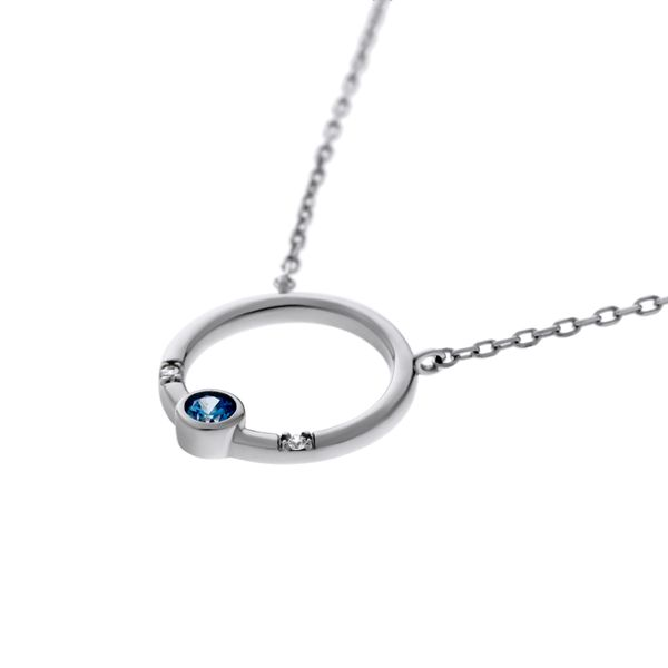 Olivia Sterling Silver Rhodium Plated Open Circle Pendant With Light Blue Round Cz Bezel Set, And 2 X Clear Round Czs Bead Set,  Georgies Fine Jewellery Narooma, New South Wales