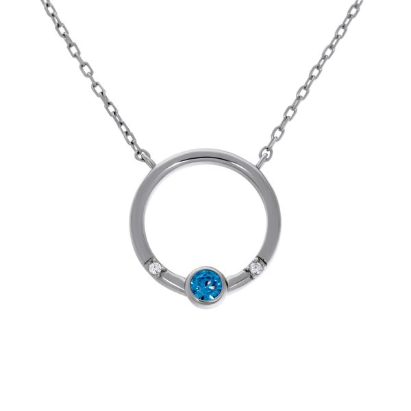 Olivia Sterling Silver Rhodium Plated Open Circle Pendant With Light Blue Round Cz Bezel Set, And 2 X Clear Round Czs Bead Set,  Image 2 Georgies Fine Jewellery Narooma, New South Wales