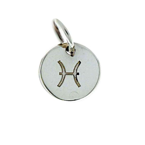 Onatah Mojo Sterling Silver Mini Engravable Starsign Disc Charm - Pisces Georgies Fine Jewellery Narooma, New South Wales