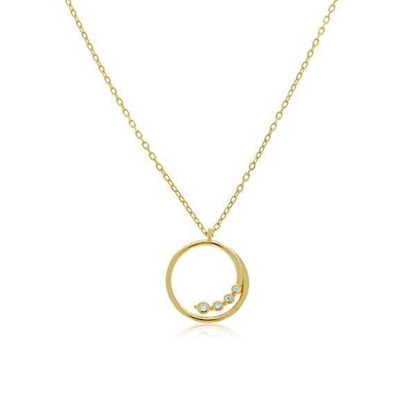 Yellow Gold Plated Swirl Open Circle With Bezel Set Cz Pendant Georgies Fine Jewellery Narooma, New South Wales