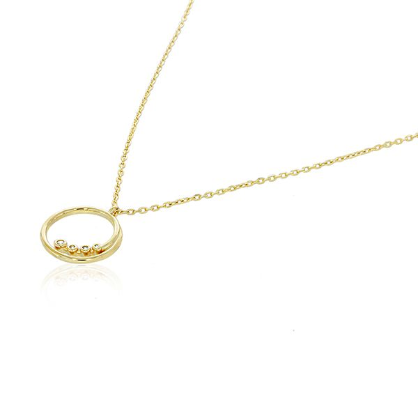 Yellow Gold Plated Swirl Open Circle With Bezel Set Cz Pendant Image 2 Georgies Fine Jewellery Narooma, New South Wales